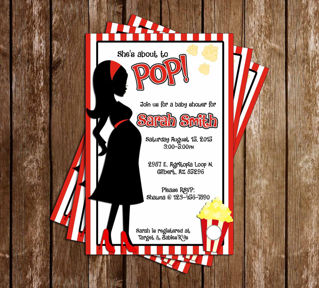 Novel concept designs shes about to pop popcorn baby shower popcorn baby shower invitation filmwisefo