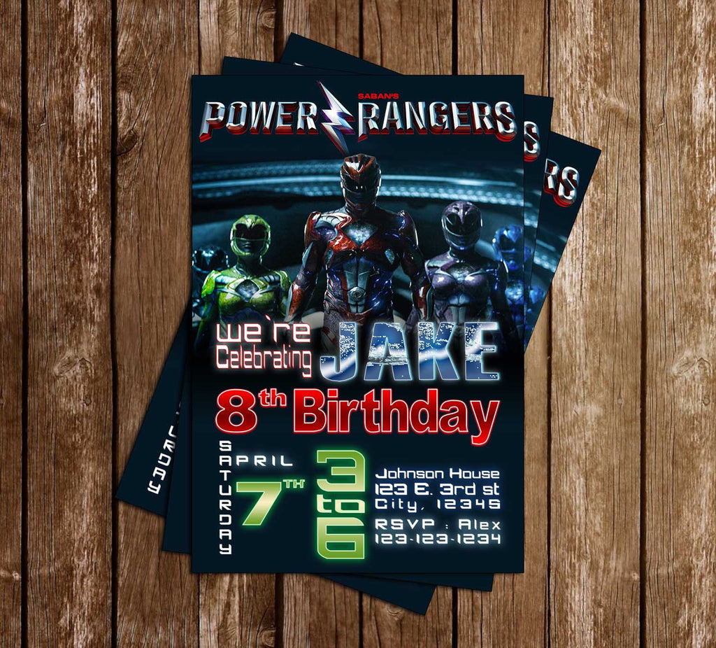 The Power Rangers - The Movie - Birthday Party Invitation