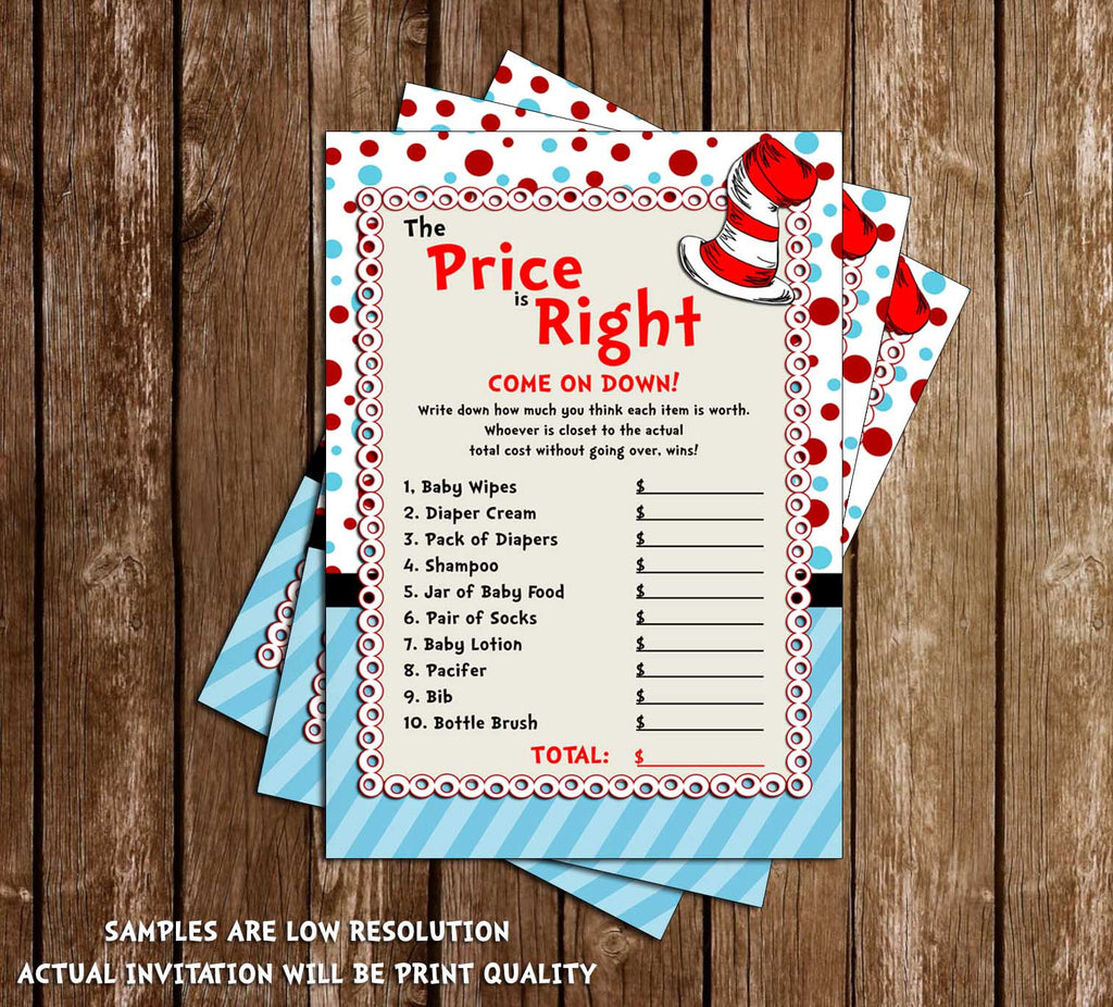 Cat in the Hat - Price is Right - Dr Seuss - Baby Shower Game