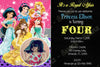 Disney Princess - Ariel, Aurora, Belle, Snow White, Jasmine - Birthday Invitation