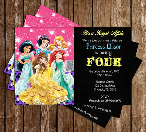 Disney Princess - Ariel, Belle, Cinderella, Jasmine, Snow White and Auroa - Birthday Invitations