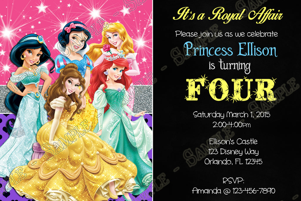 Novel concept designs disney princess ariel aurora belle snow disney princess ariel aurora belle snow white jasmine birthday invitation filmwisefo