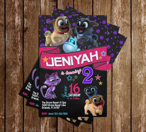 Puppy Dog Pals - Girls Chalkboard - Birthday Party Invitations