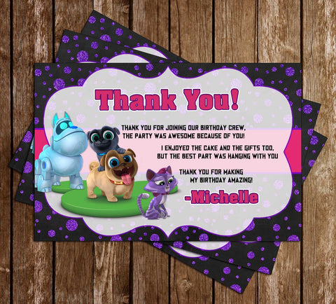 Puppy Dog Pals - Girls - Birthday Party - Thank You Card