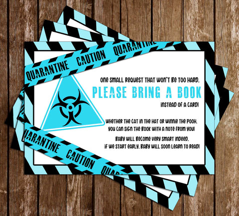 Quarantine - Blue - Baby Shower - Bring A Book - Insert