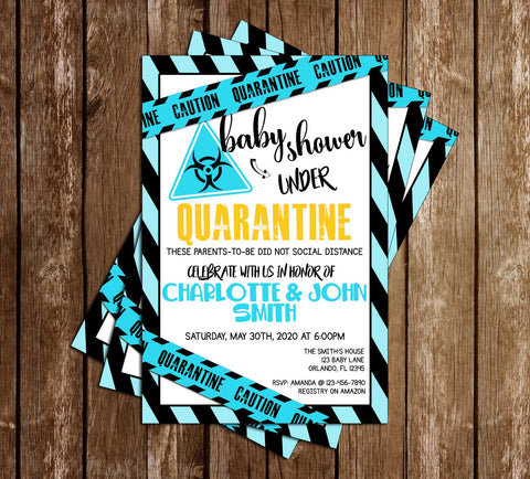 Quarantine - Blue - Baby Shower - Invitation