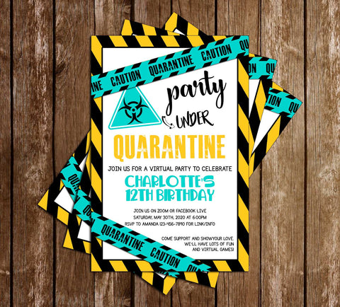 Quarantine - Teal - Birthday - Party - Invitation