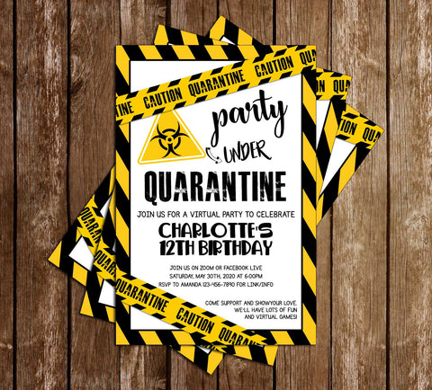 Quarantine - Yellow - Birthday - Party - Invitation