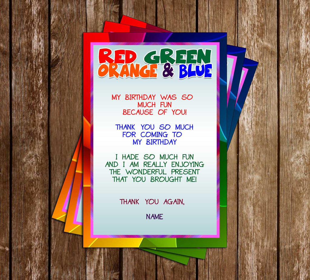 Copy of Rainbow - Colorful - Birthday Party - Thank You Card