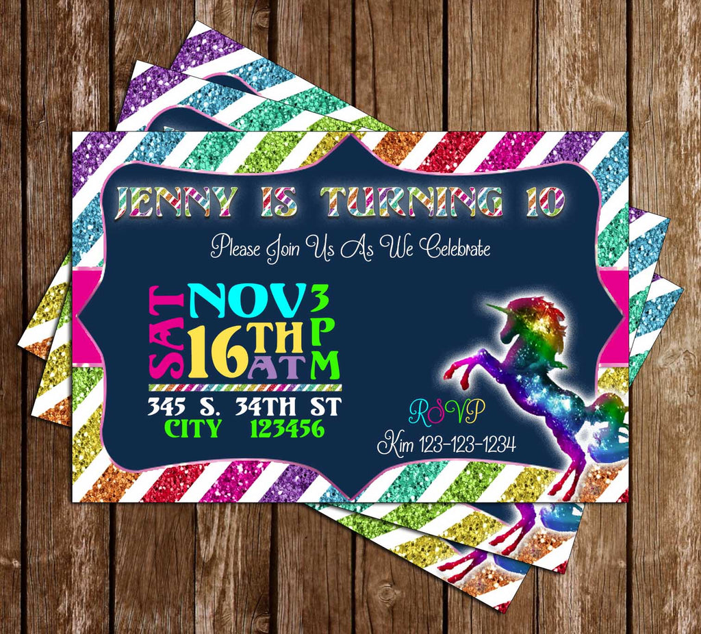 Novel Concept Designs Unicorns Rainbow Birthday Party Invitation