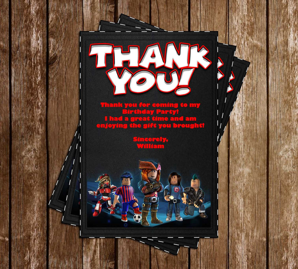 Roblox Game Birthday Party Thank You Card - how to change ur birthday on roblox