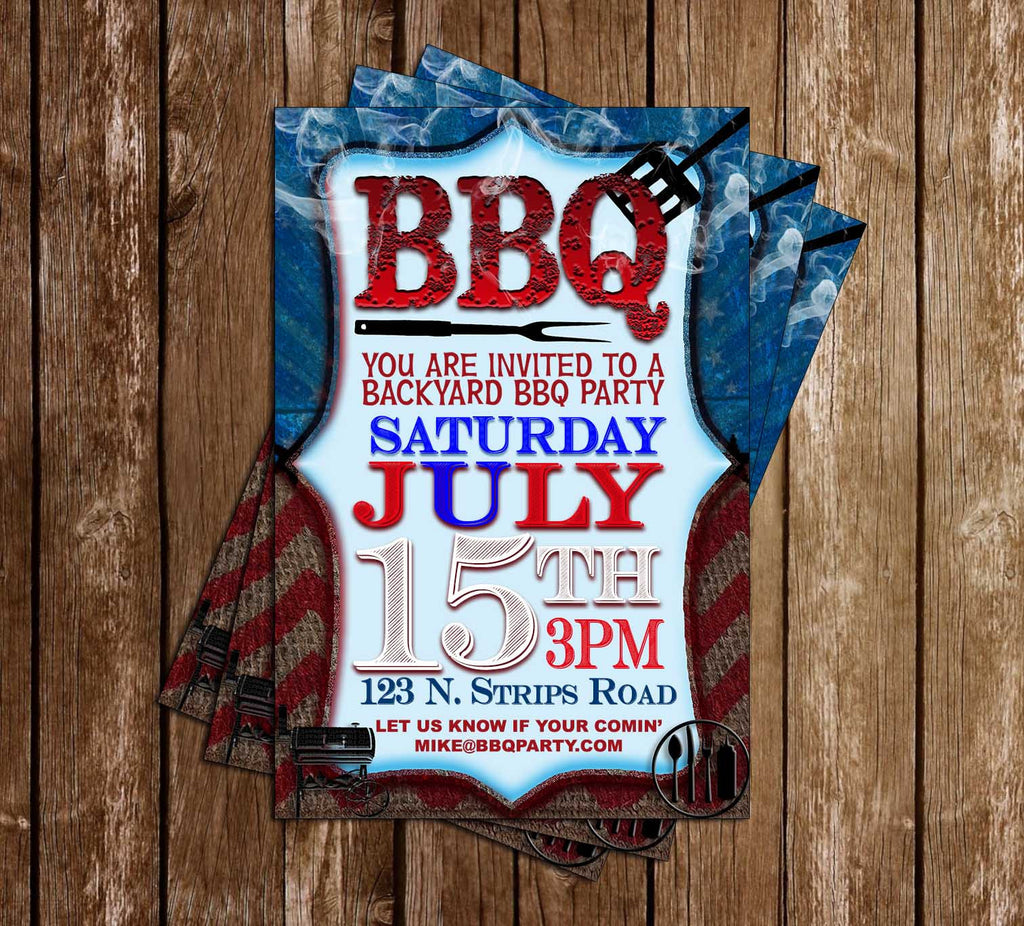 Red White & Blue BBQ - Summer BBQ - Birthday Party - Invitation