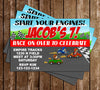 Start Your Engines! - Race Car - Birthday Party - Invitation