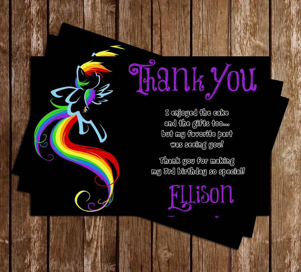 My Little Pony Rainbow Dash Birthday Thank You Card