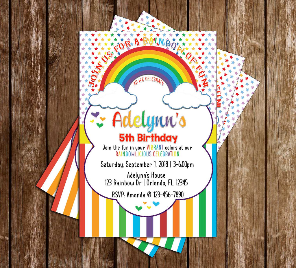 Rainbows - Rainbowlicious - Birthday Party - Invitation