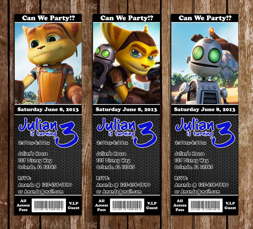 Ratchet and Clank Game Birthday Party Ticket Invitation