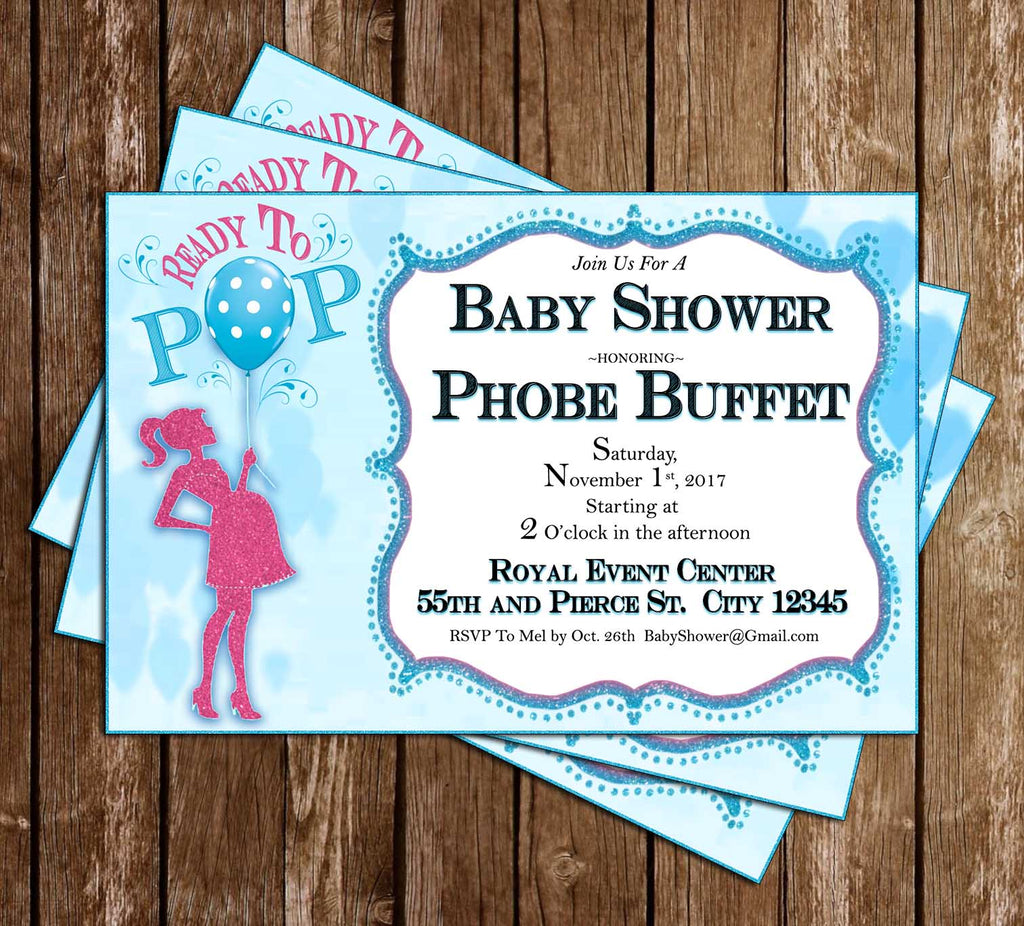 Novel concept designs ready to pop baby shower invitation ready to pop baby shower invitation filmwisefo Images