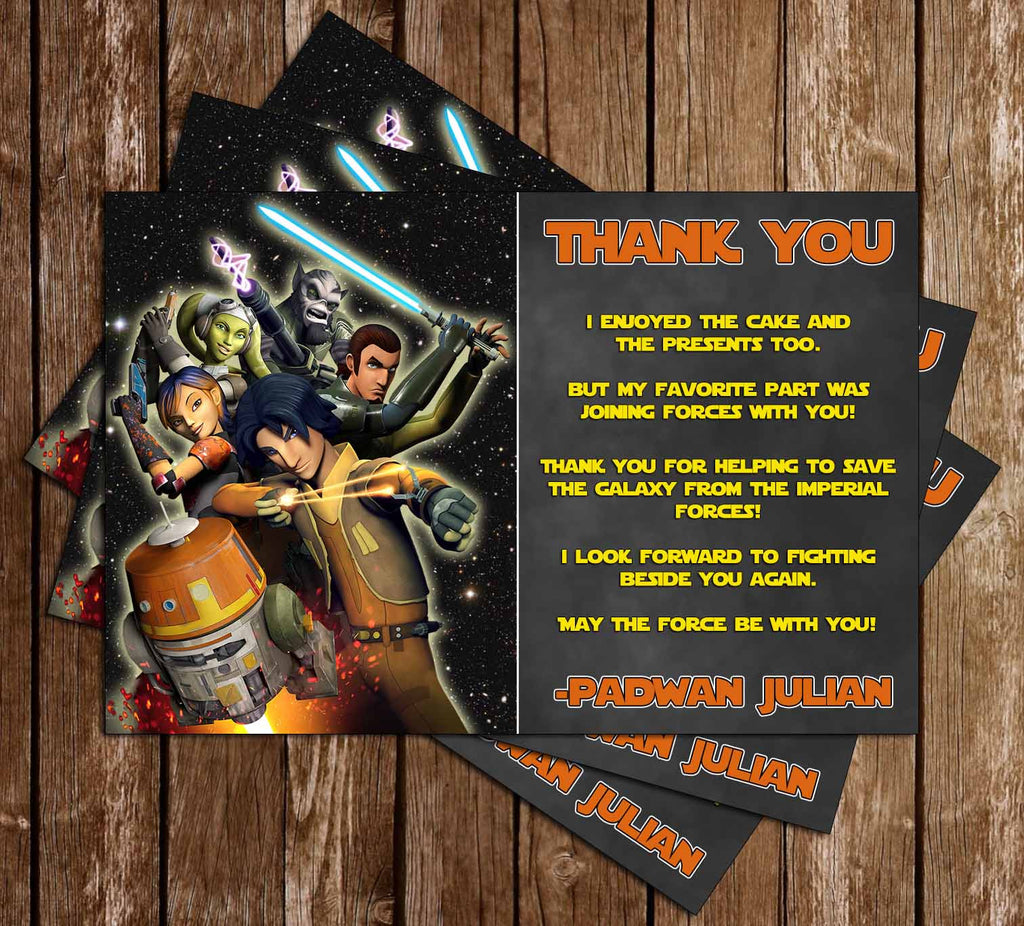 photo regarding Star Wars Thank You Cards Printable Free named Star Wars Rebels Birthday Bash Thank Your self Card Printable