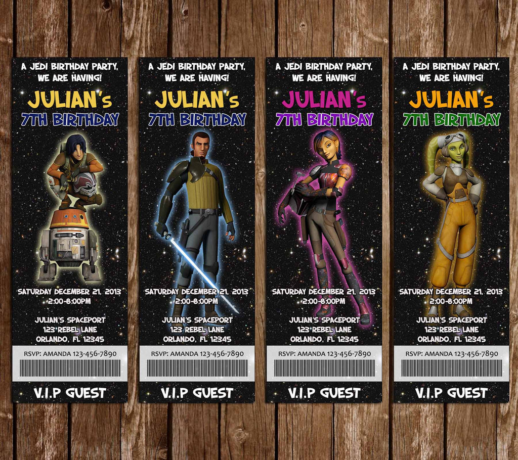 Star Wars Rebels Birthday Party Ticket Invitation Printable