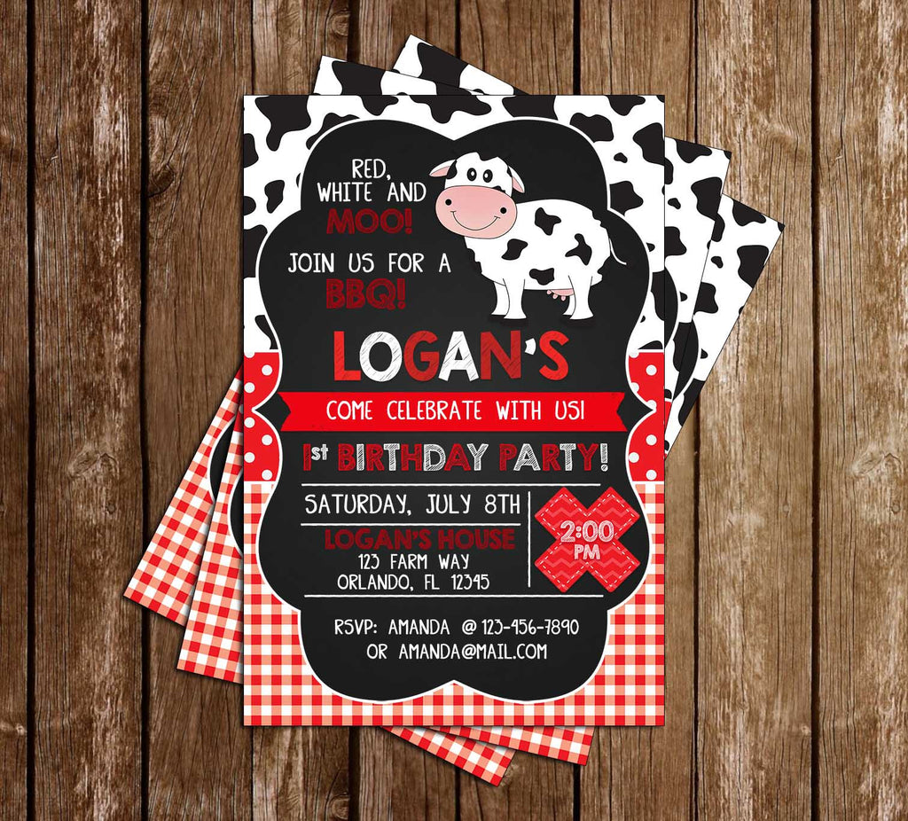 Red White and Moo - BBQ  - Birthday Party - Invitation