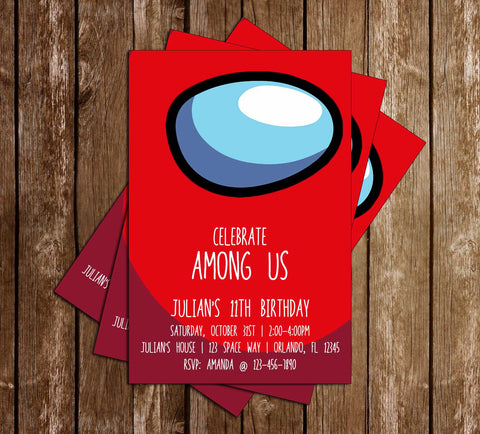 Among Us -You Pick Your Color - Crewmate - Birthday - Invitation