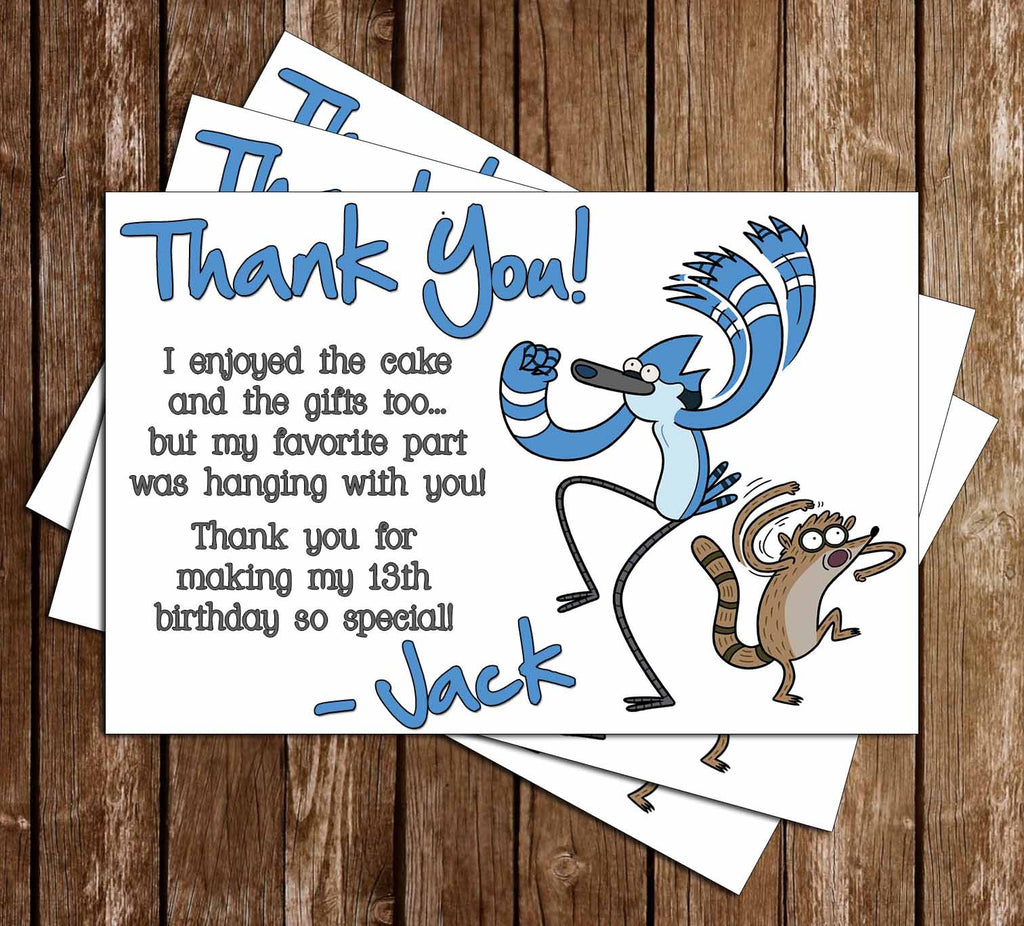 Regular Show Action Birthday Thank You Card