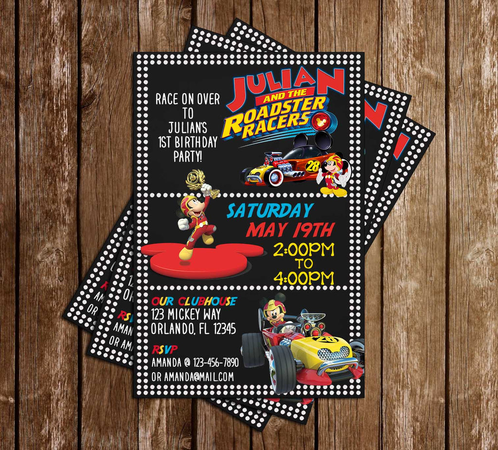 Mickey & Roadsters Racers - Dots - Birthday Party - Invitation