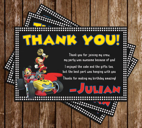 Mickey & Roadsters Racers - Dots - Birthday Party - Thank You Card