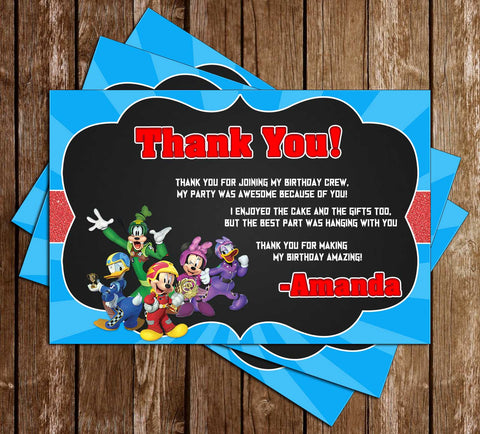 Disney Jr - Mickey Mouse Roadsters - Tall - Birthday Party Thank You Card