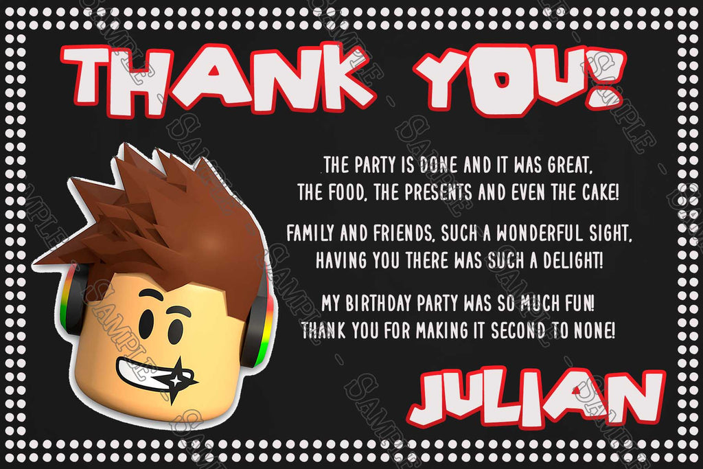 Roblox Chalkboard Birthday Party Thank You Card - how to change ur birthday on roblox