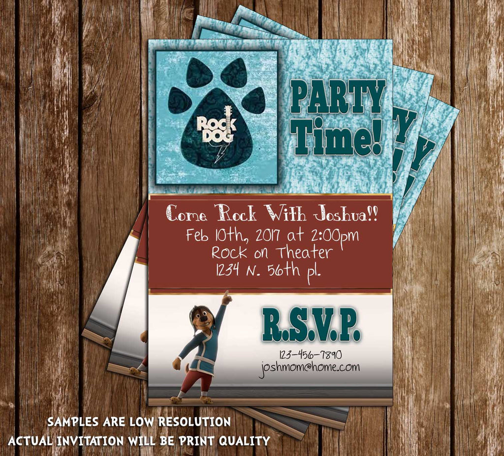 rock dog movie birthday party invitation - Movie Birthday Party Invitations