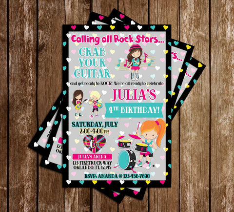 Rock Star - Music - Girl Birthday - Invitation