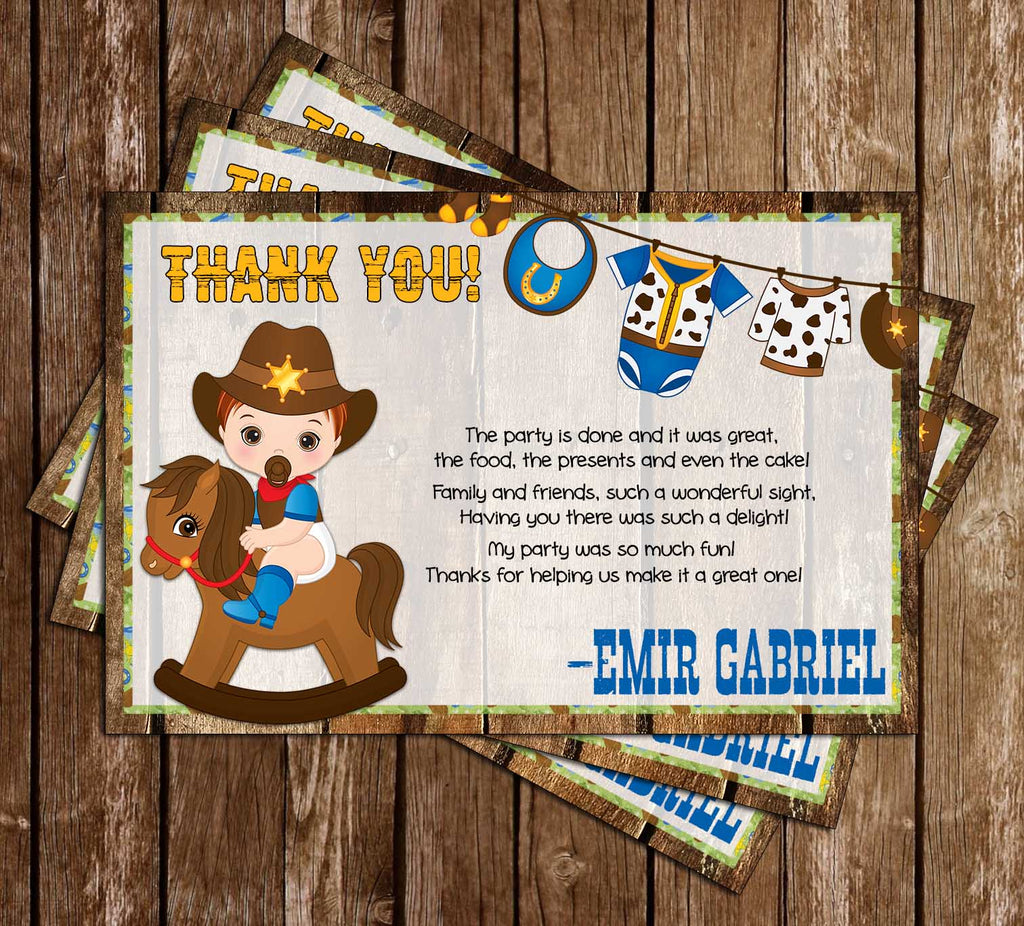 1st Rodeo - Cowboy - Birthday Party - Thank You Card