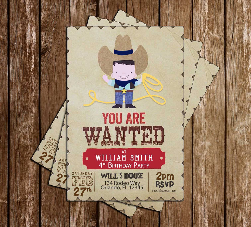 Cowboy - Rodeo - Birthday Party - Invitation