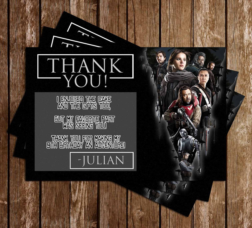 Rogue One - Star Wars - Birthday Party Thank You Card Printable