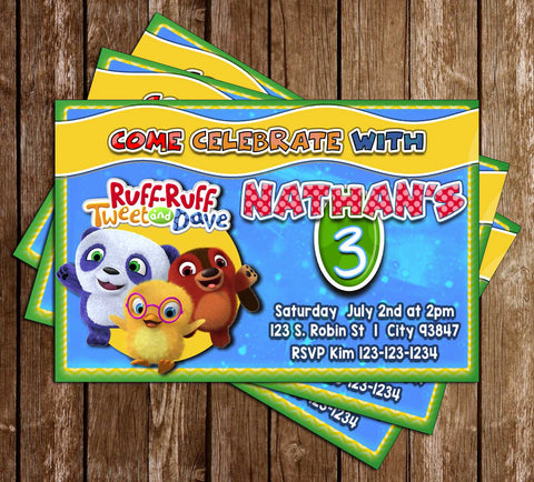 Ruff-Ruff, Tweet and Dave - TV Show - Birthday Party - Invitation