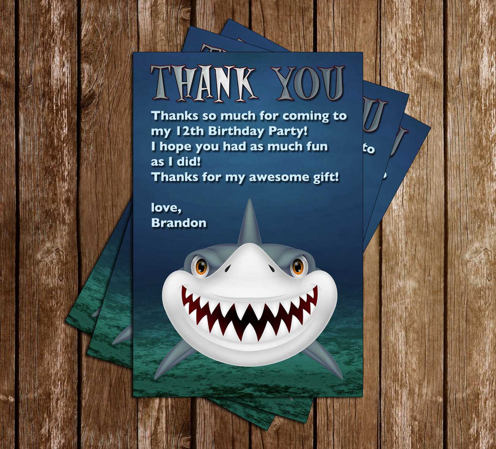 Novel Concept Designs Shark Birthday Party Invitation
