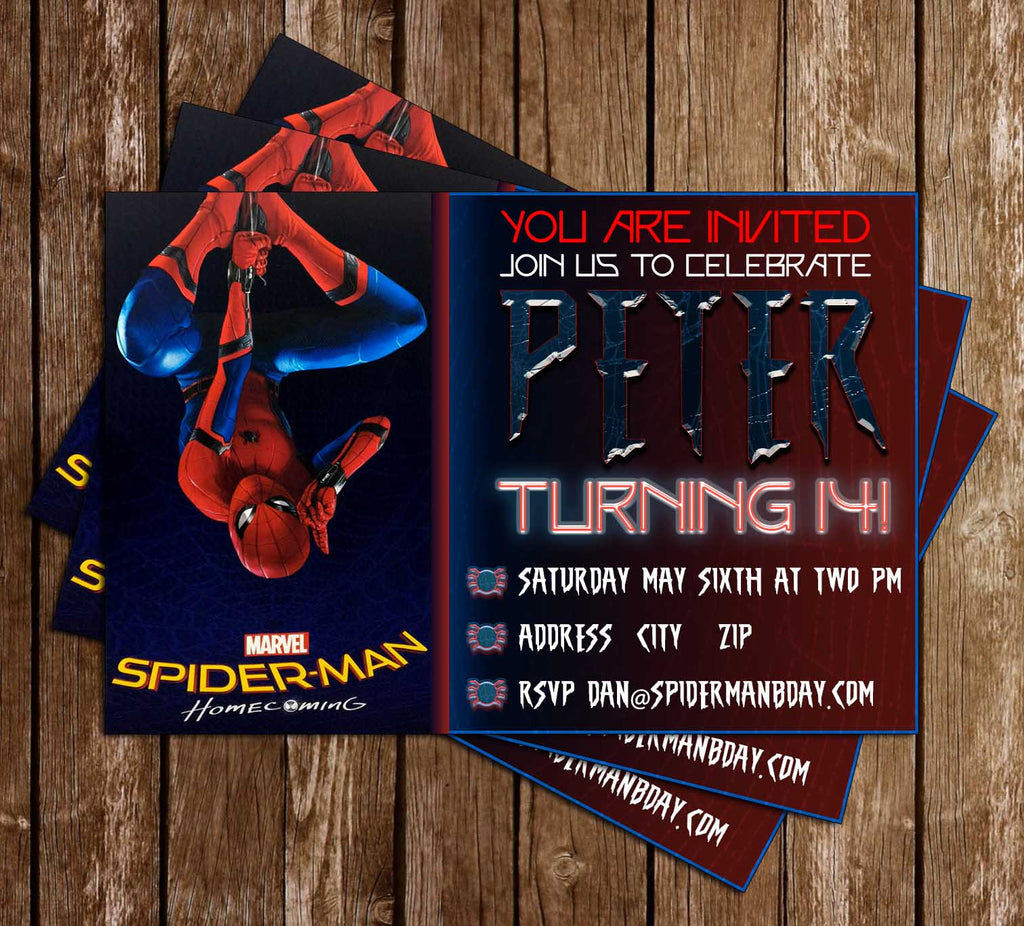 spiderman homecoming movie birthday party invitation - Movie Birthday Party Invitations