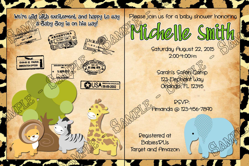 novel concept designs  passport safari  baby animals  zoo, Baby shower invitation