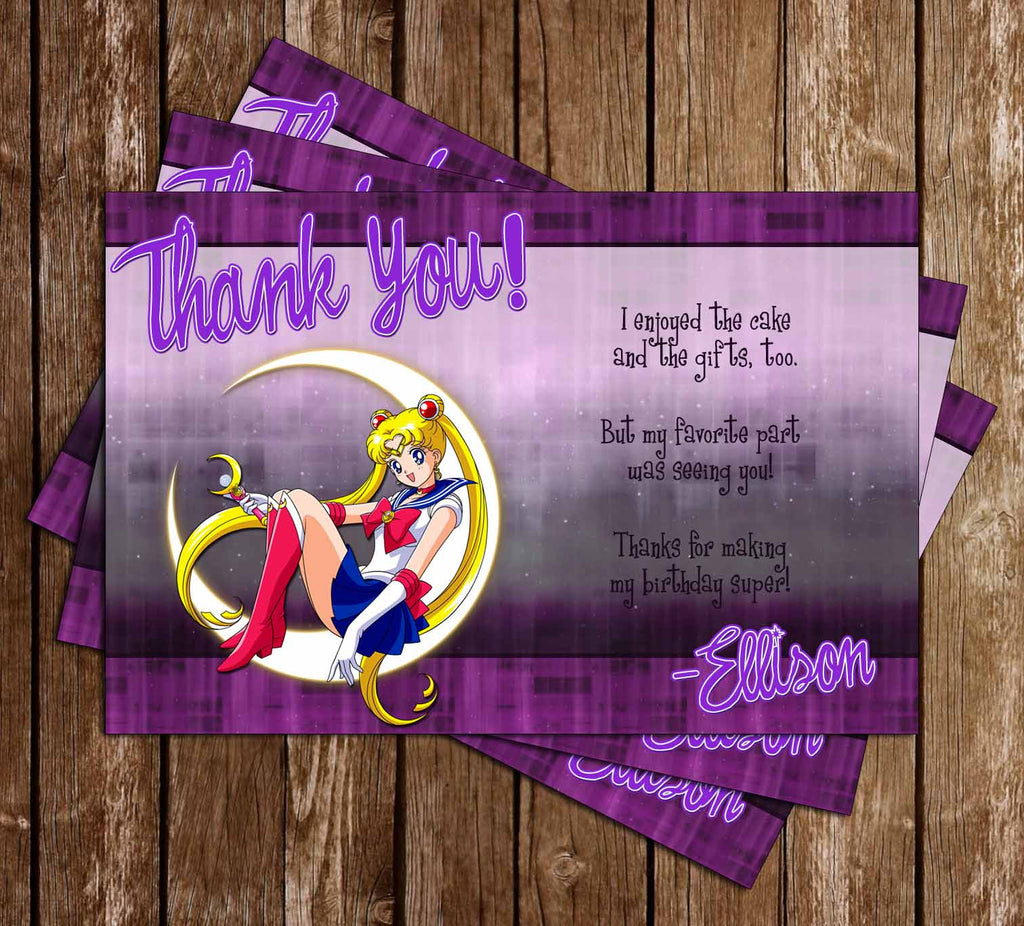 Sailor Moon Show Birthday Thank You Card