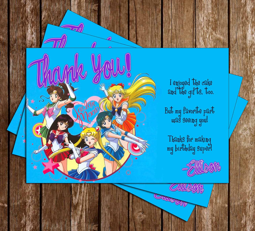 Sailor Moon Show Scouts Birthday Thank You Card