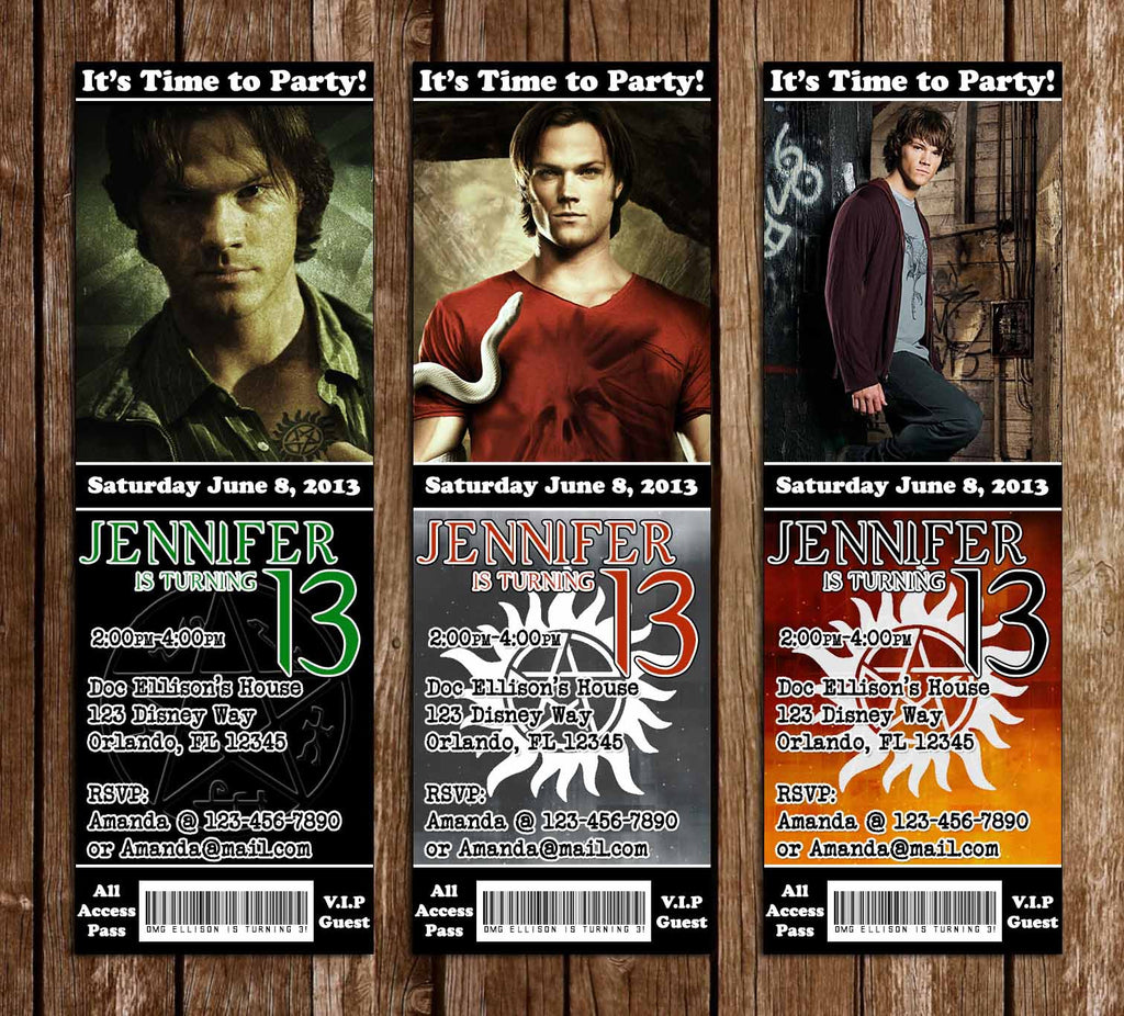 Sam Winchester Supernatural Birthday Party Ticket Invitations