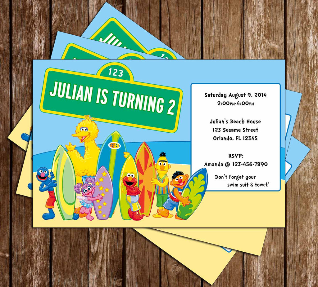 Novel Concept Designs Sesame Street Pool Party Birthday Invitation