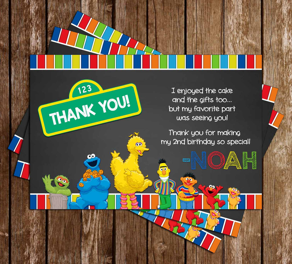 Sesame Street - Chalkboard - Birthday Party - Thank You Card