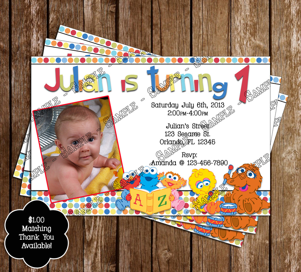 Novel Concept Designs Baby Sesame Street 1st Birthday Thank You Card – 1st Birthday Thank You Cards