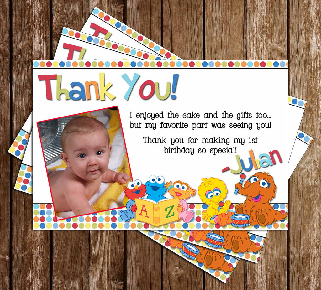 Baby Sesame Street Show 1st Birthday Thank You Card