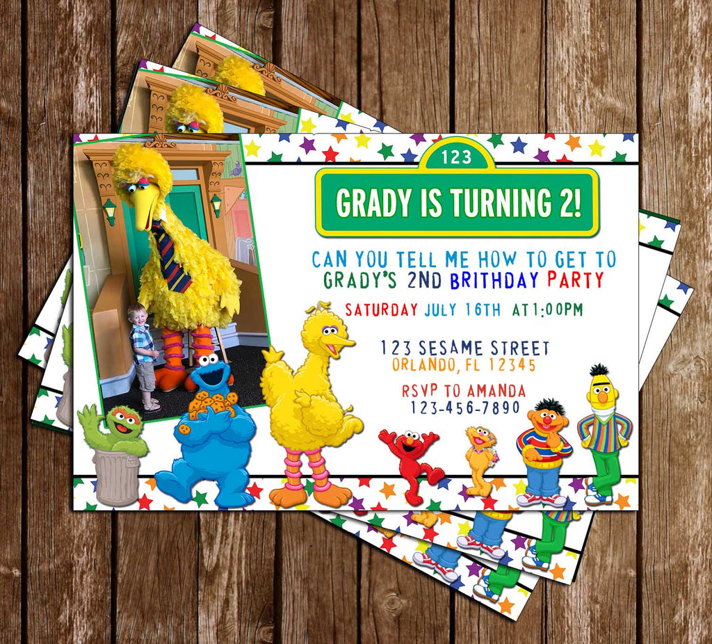 Novel Concept Designs Sesame Street Characters Stars – Sesame Street Party Invitations