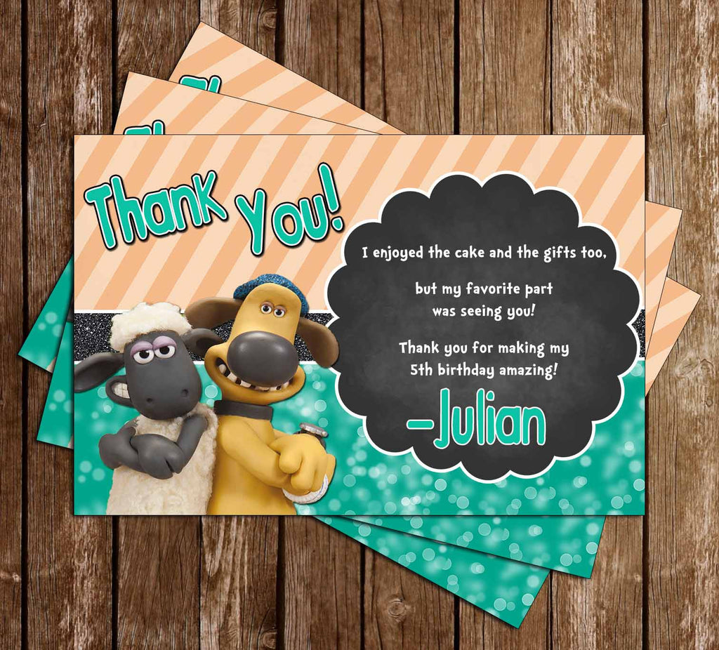 Shaun the Sheep Birthday Party Thank You Card