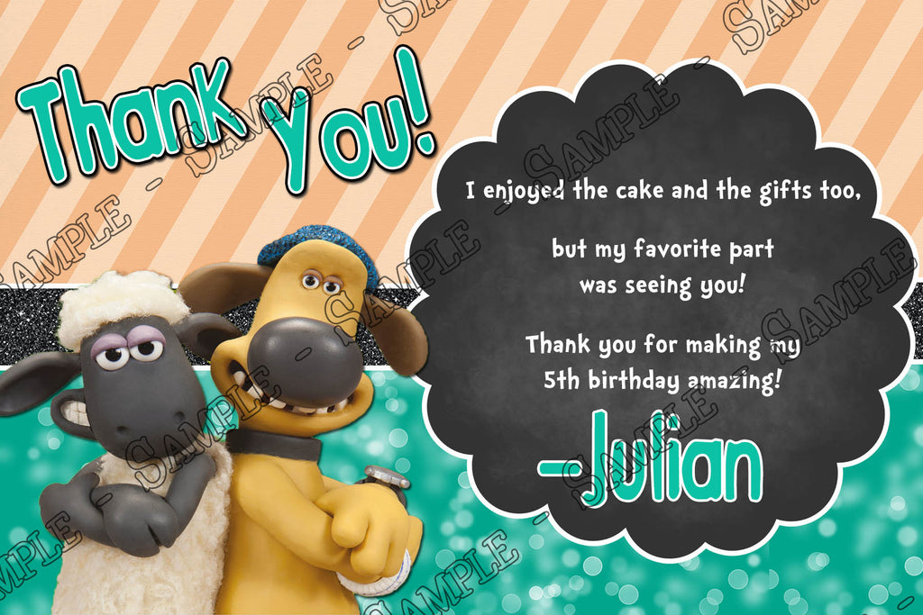 Novel Concept Designs Shaun the Sheep Birthday Party Thank You Card – Shaun the Sheep Birthday Card