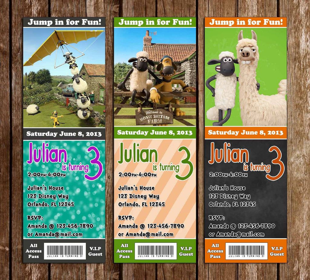 Shaun of the Sheep Birthday Party Ticket Invitations